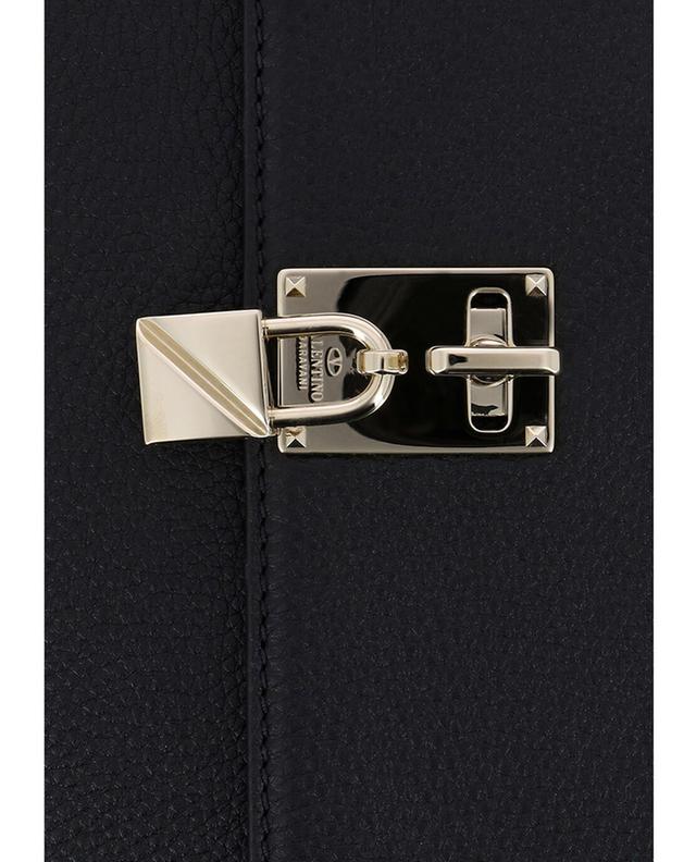 Valentino umhängetasche aus genarbtem leder joylock messenger schwarz