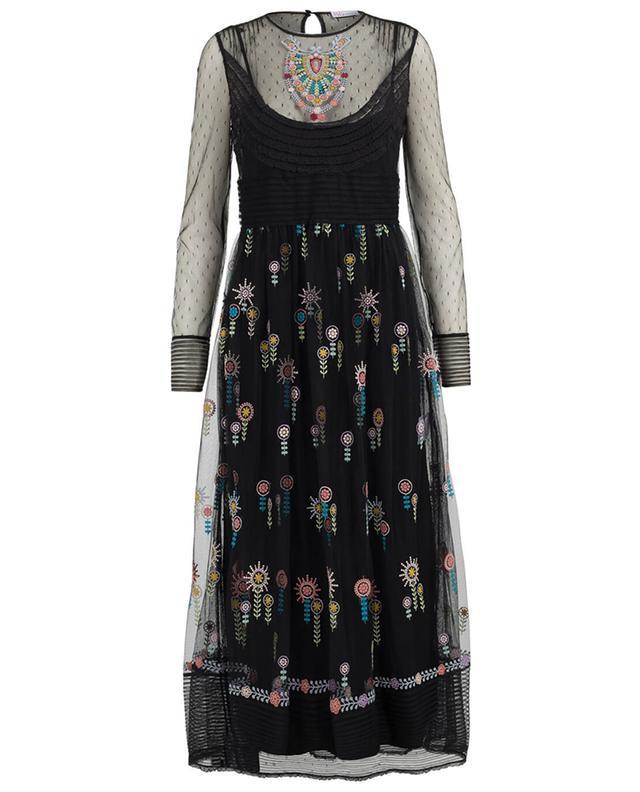 8b38e17f6a03e RED VALENTINO Embroidered tulle maxi dress BLACK A41261 ...