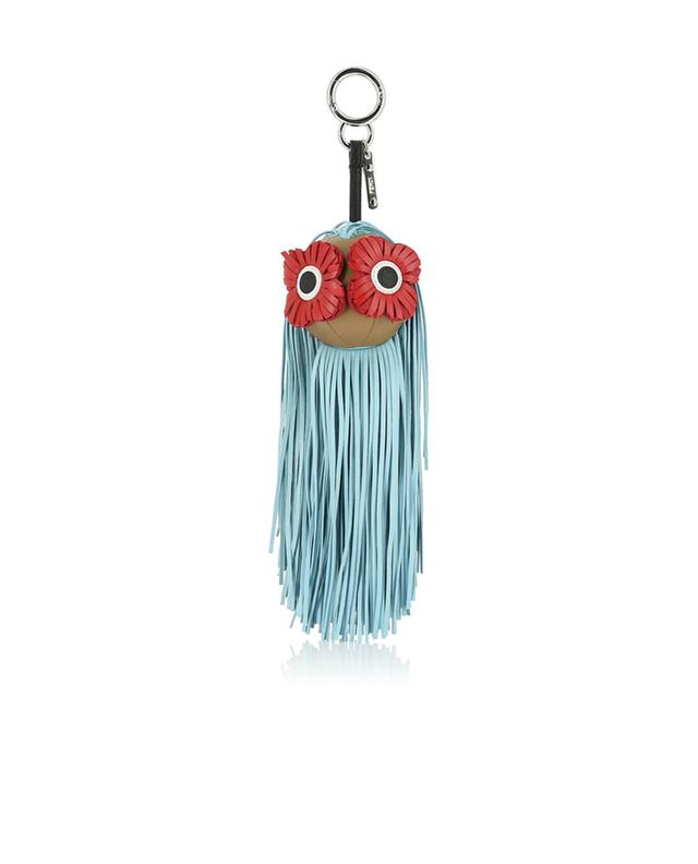 Fendi taschenhänger aus leder fringe-eyes marineblau a41412