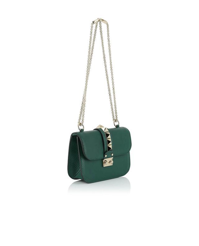 Valentino sac porté épaule en cuir grainé lock small vert