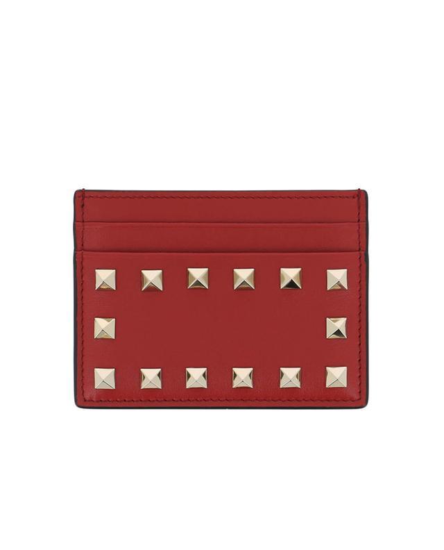 Valentino porte-cartes en cuir rockstud rouge a41539