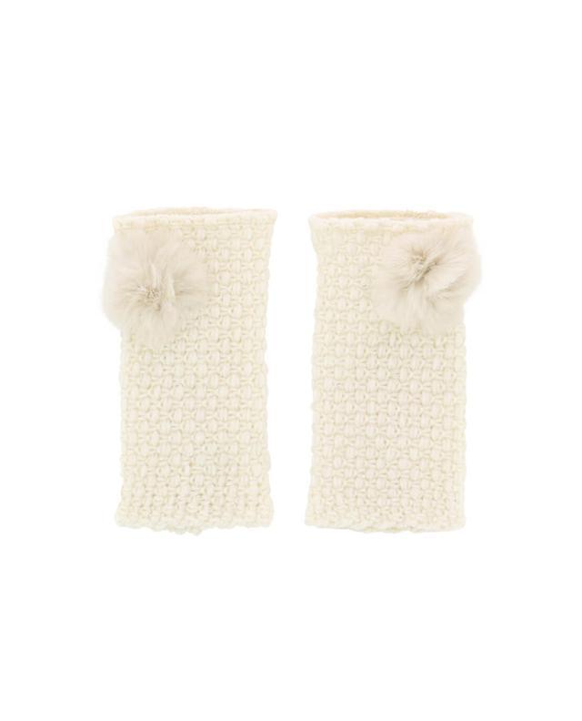 Lea clement glitzernde fingerlose handschuhe mit pelz weiss