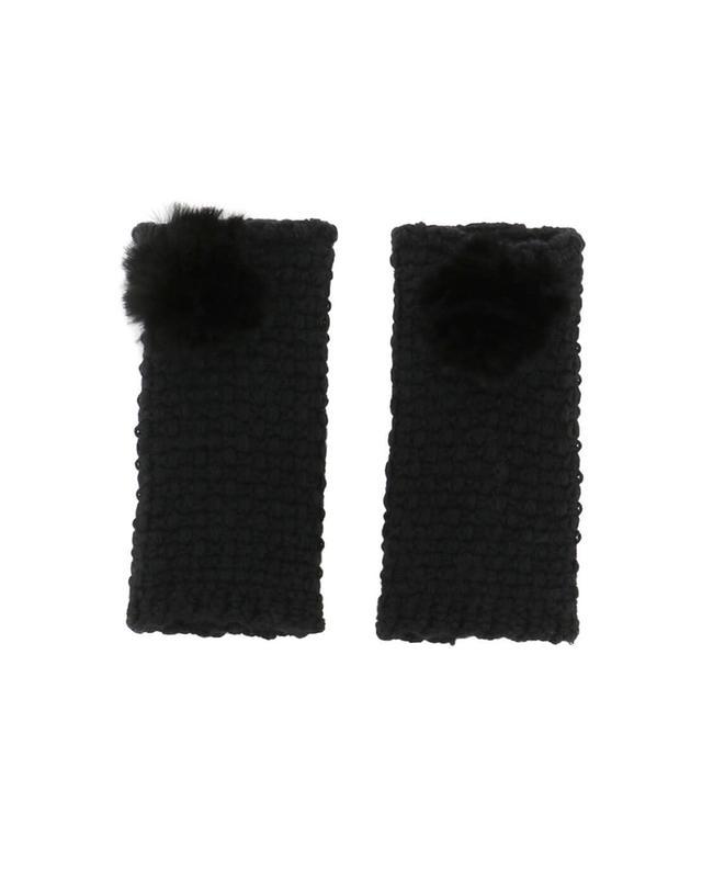 Lea clement glitzernde fingerlose handschuhe mit pelz schwarz