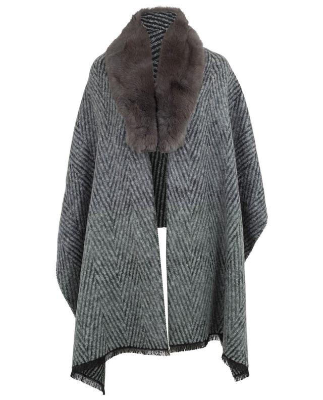 Lea clement reversible stole with fur detail anthracite