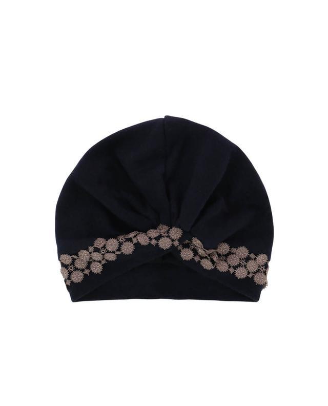 Charles muller bestickte mütze aus baumwolle und kaschmir marineblau