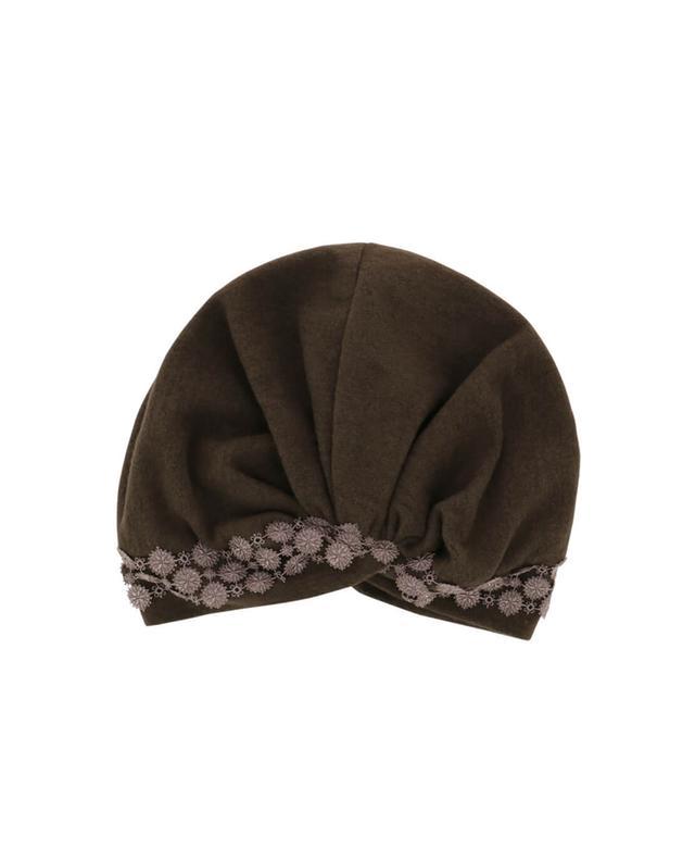 Charles muller bonnet brodé en coton et cachemire marron