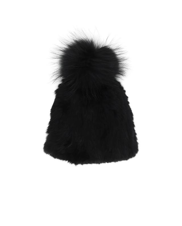 Yves salomon real fur beanie black a42084