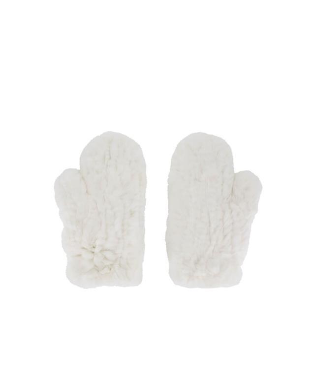 Yves salomon real fur mittens white a42086