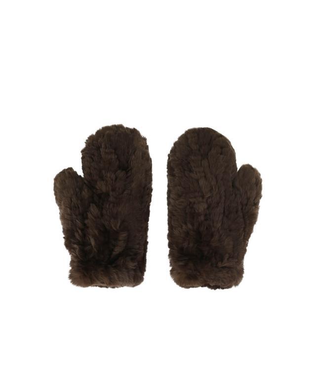 Yves salomon real fur mittens brown a42086