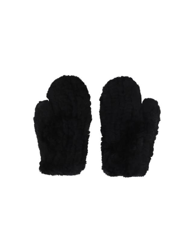Yves salomon fausthandschuhe aus echtem pelz schwarz a42086