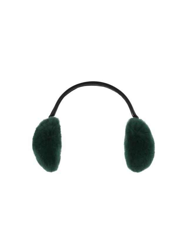 Yves salomon cache-oreilles en fourrure véritable vert