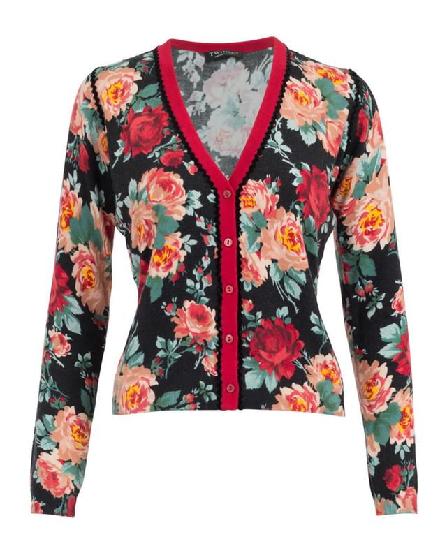 Roses printed viscose blend cardigan TWINSET