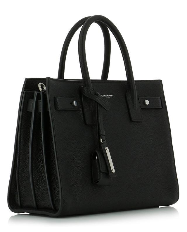 Saint laurent paris handtasche aus genarbtem leder sac de jour schwarz