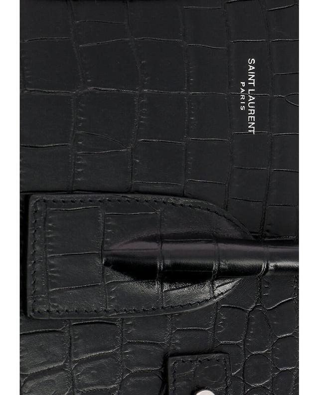 Saint laurent paris small crocodile embossed leather sac de jour black