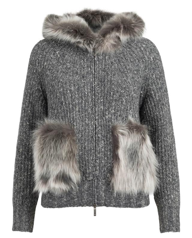 Cardigan with hood and fur LORENA ANTONIAZZI