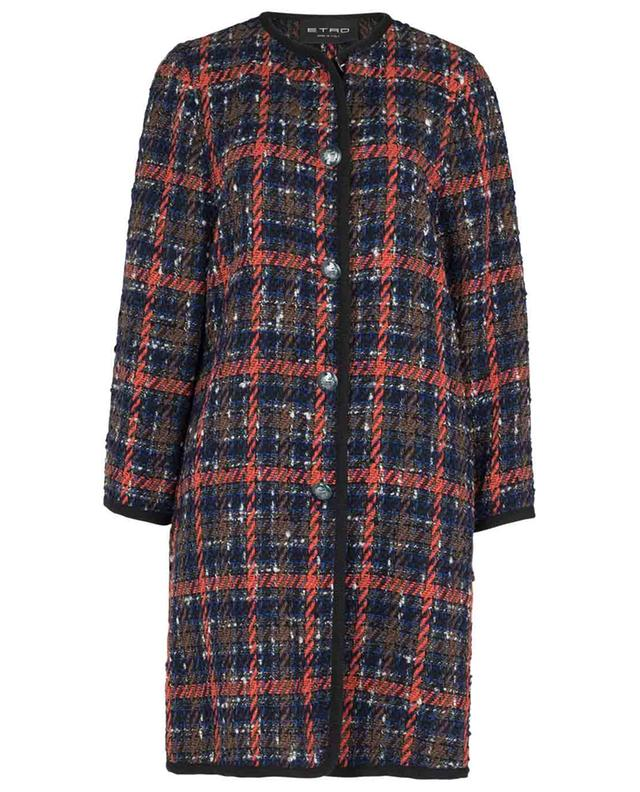 Lightweight checked tweed round neck coat ETRO