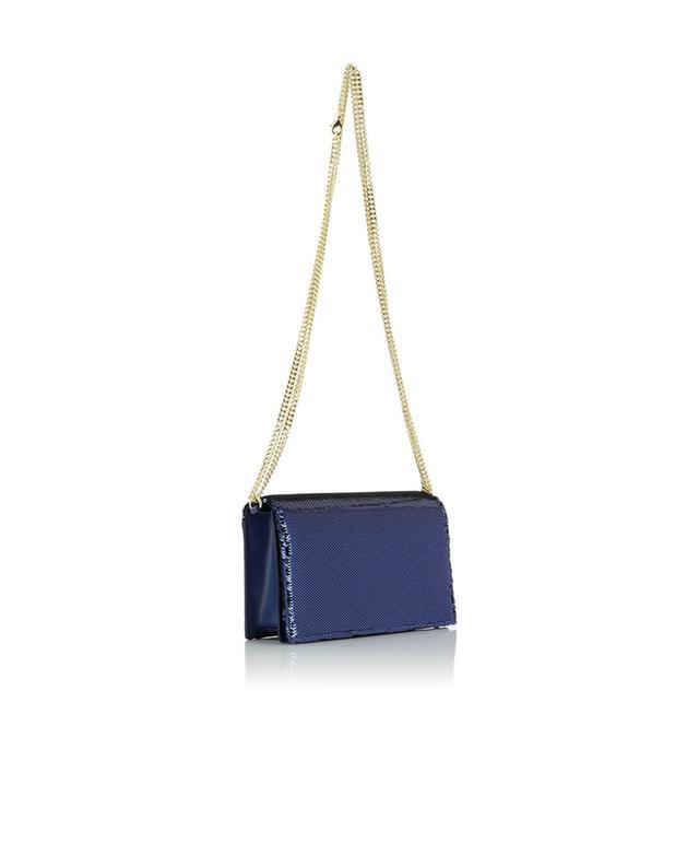 Diane von furstenber sac porté épaule en cuir et sequins soirée bleufonce