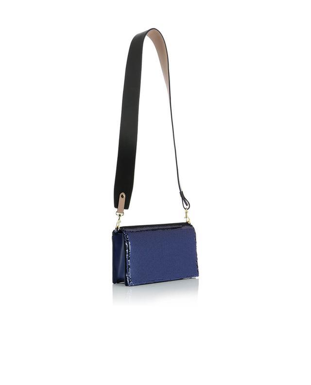 Diane von furstenber soirée leather shoulder bag with sequins darkblue