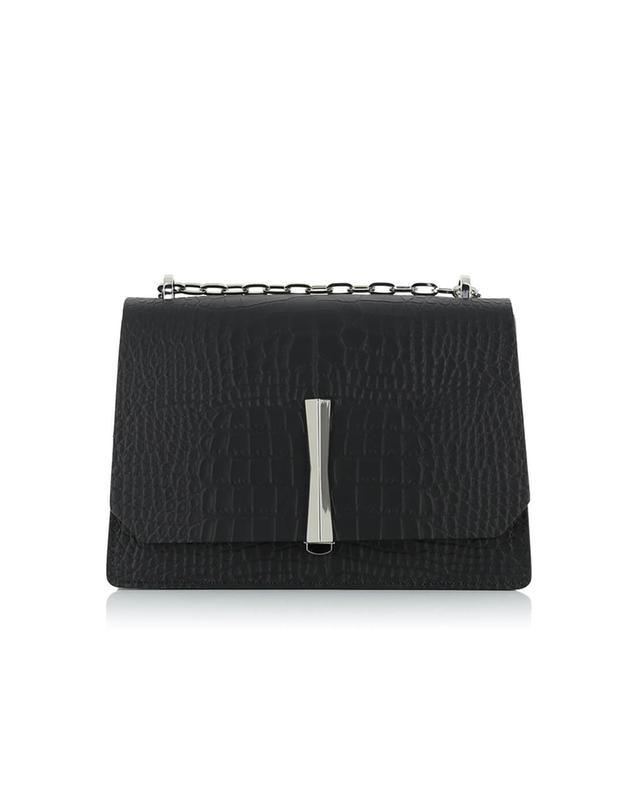 Gianni chiarini sac porté épaule en cuir effet croco noir