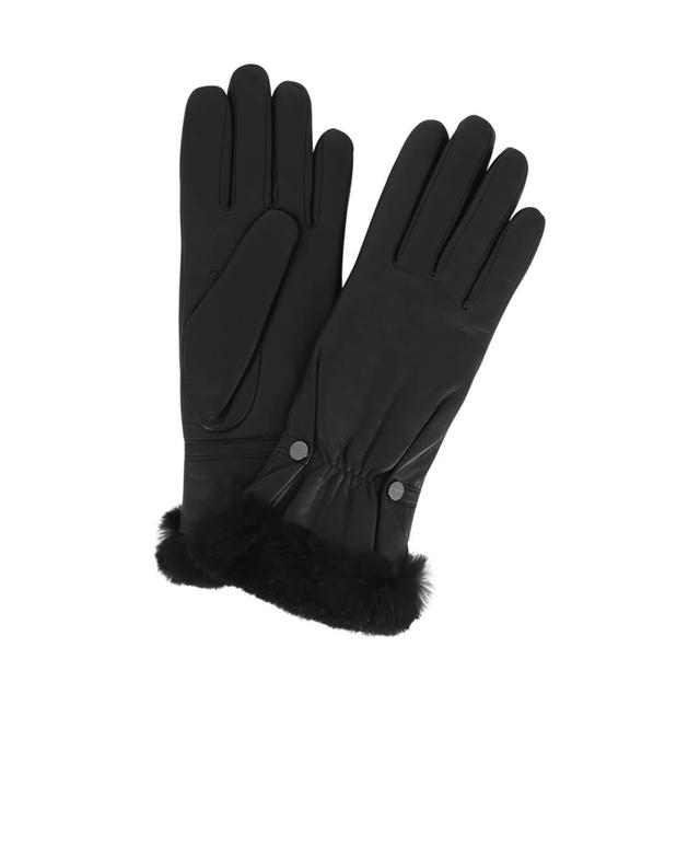 Leather gloves with fur AGNELLE