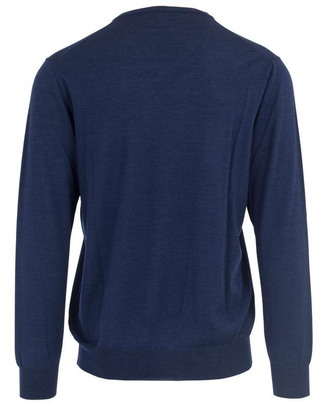 Baldassari pullover mit v-ausschnitt aus merinowolle und seide blau