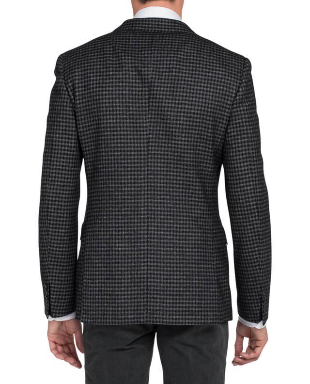 Tonello Sakko aus Wollmischung mit Karo Muster Schwarz