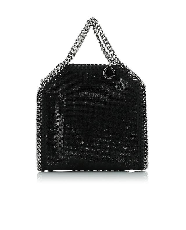 Stella mccartney handtasche aus kunstleder mit kristallen falabella schwarz