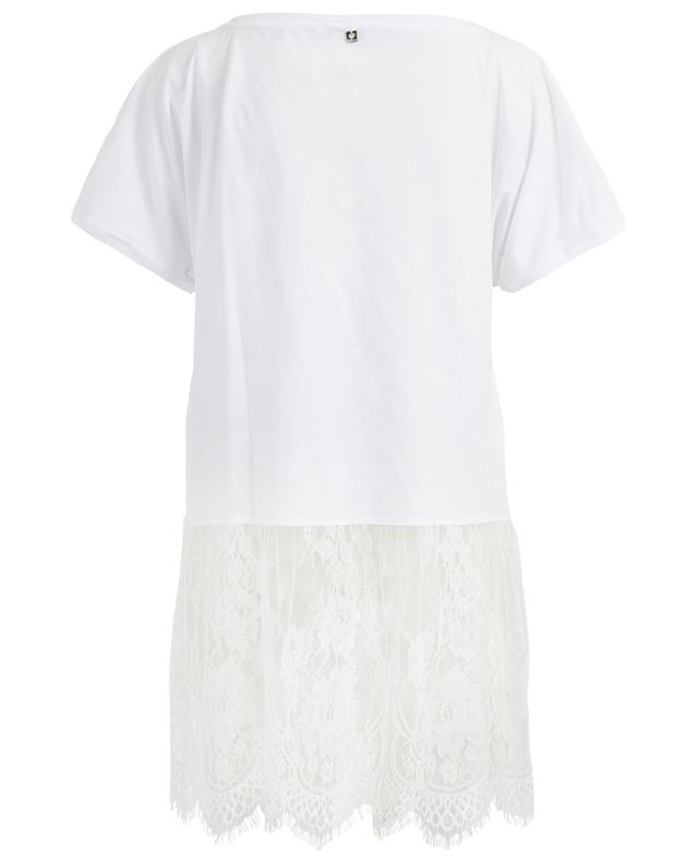 Cotton T-shirt with lace detail TWINSET