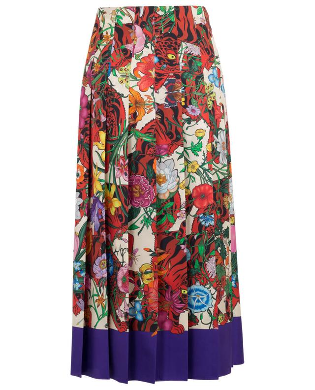 Printed midi-length silk skirt GUCCI