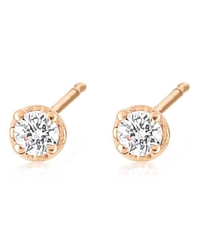 Mini Diamond Puce pink gold and diamonds stud earrings GINETTE NY