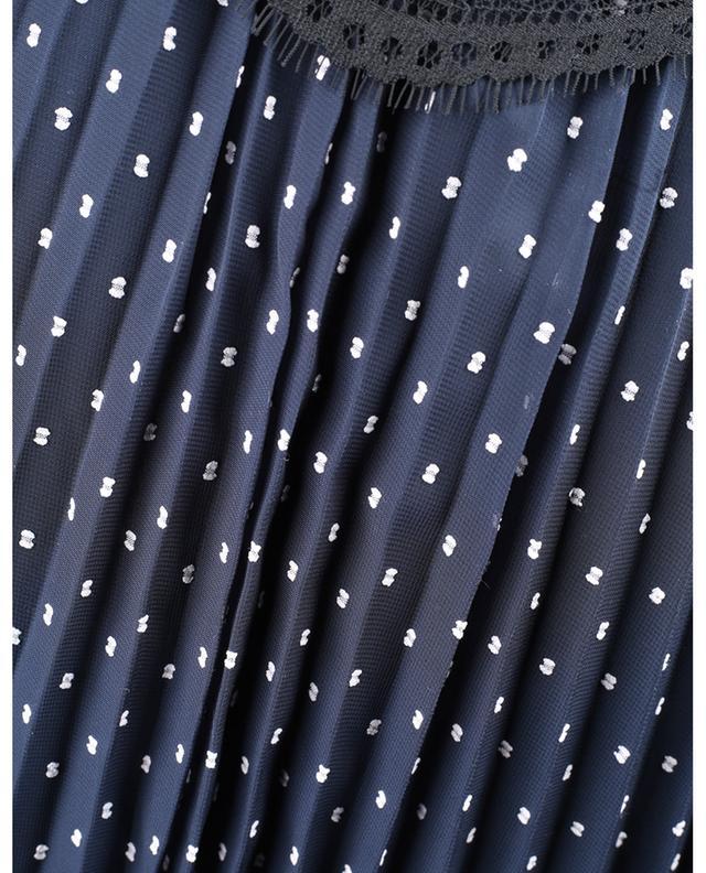Plissiertes Trägerkleid aus Crêpe mit Spitze und Tupfen SELF PORTRAIT
