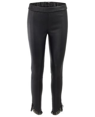 Tulle embellished leather leggings SLY 010