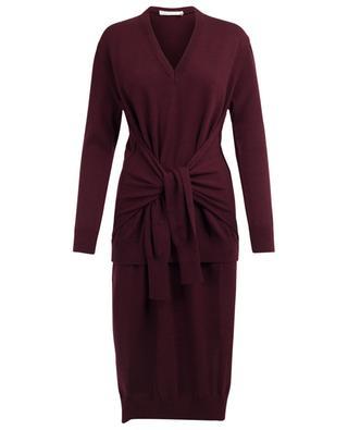 Robe asymétrique en laine Burnt Mahogany CHLOE