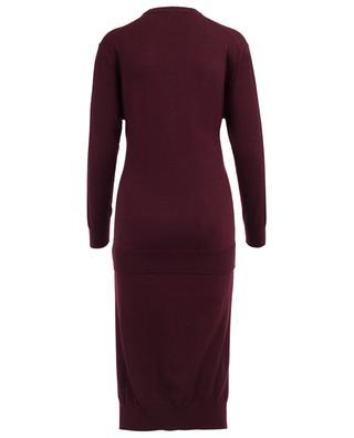 Burnt Mahogany asymmetrical wool dress CHLOE