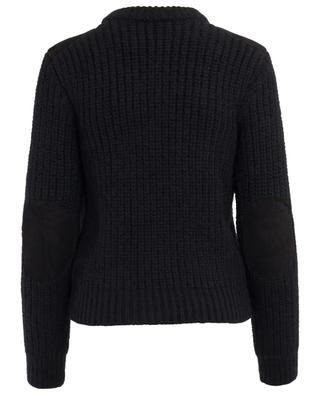 Loose wool blend jumper with suede SAINT LAURENT PARIS