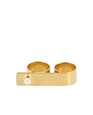 Double bague en métal or et perle Swarovski HELENE ZUBELDIA