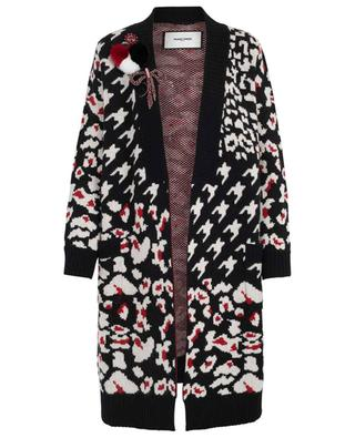 Fur and bow adorned print cardigan MAX ET MOI