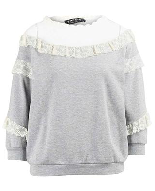 Sweat-shirt en coton et dentelle TWINSET
