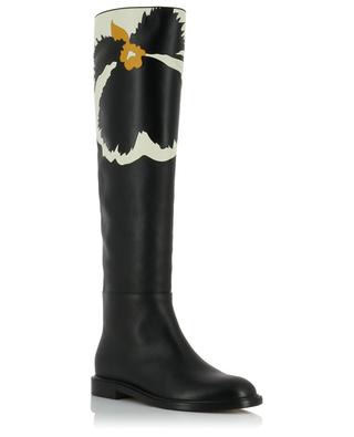 Flat leather boots with floral pattern VALENTINO
