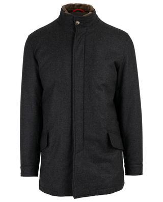 Mantel aus Wolle mit Pelz ISAIA