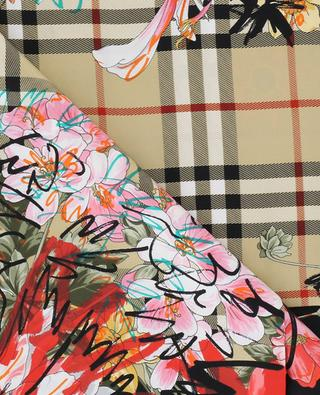 Scribble Floral Vintage Check silk square BURBERRY