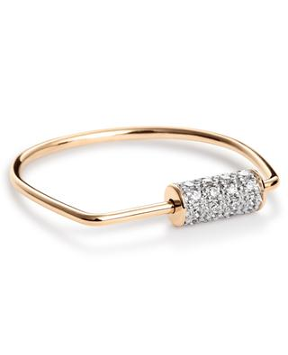Mini Straw Diamond Ring pink gold ring GINETTE NY