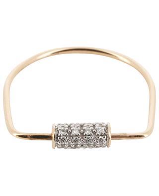 Bague en or rose Mini Straw Diamond Ring GINETTE NY