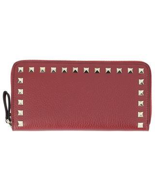 Rockstud large grained leather zip-around wallet VALENTINO