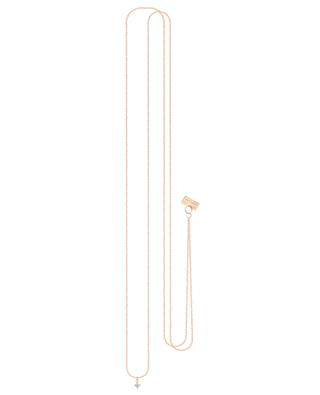 Stardust long pink gold and diamond necklace VANRYCKE