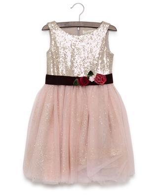 Sleeveless embroidered tulle dress MONNALISA