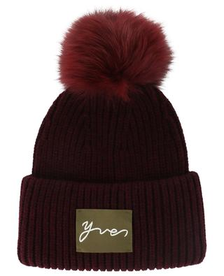Real fur pompon adorned beanie YVES SALOMON
