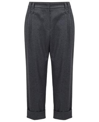 Pantalon raccourci en laine vierge mélangée BRUNELLO CUCINELLI