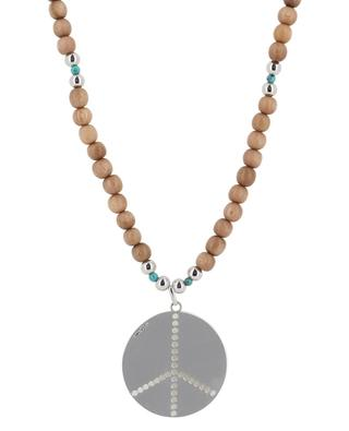 Paix long sandal wood, silver and turquoise necklace RITA & ZIA