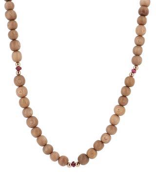 Sérénité long sandal wood and ruby necklace RITA & ZIA